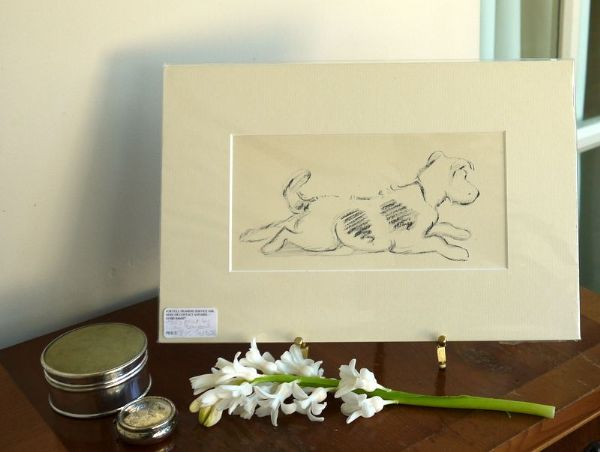 Terrier - outline, lying stretched out - Ter D26  1930's print by Lucy Dawson